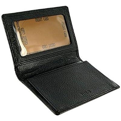 Leather Mens Credit Card Holder Wallet BLACK