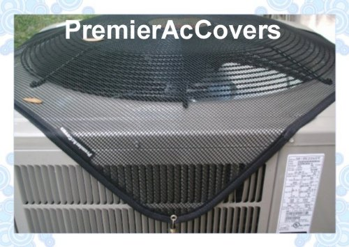 PremierAcCovers - Leaf Guard Summer Open Mesh Air Conditioner Cover - Keeps Out Leaves, Cottonwood and Debris - 36x36 - Black