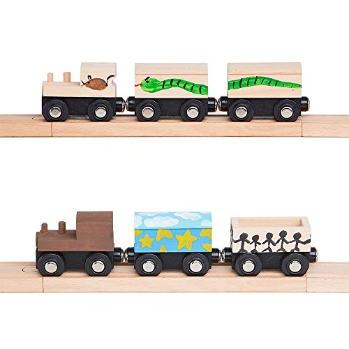Orbrium Toys Unpainted Wooden Train Cars Compatible with Thomas, Chuggington, Brio, Pack of 4, Great for Party