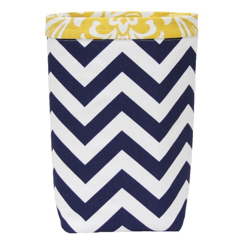 Car Trash Bag - HEADREST Style (NAVY CHEVRON/ YELLOW DAMASK BAND) Wipeable Oilcloth Lining by GreenGoose Car Bags (Damask Garbage Can compare prices)