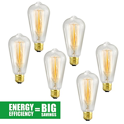 Edison Bulb 6 Pack - ST64 - Squirrel Cage Filament - Dimmable, Edison Style Vintage Light Bulbs (Fashion Lightbulbs compare prices)