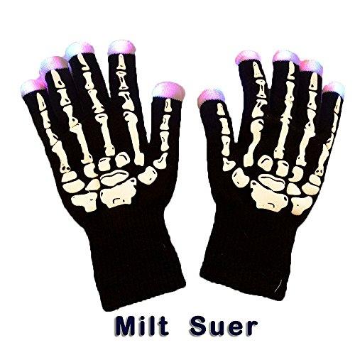 Milt Suer Flashing Finger Lighting LED Gloves with 6 Light Flashing Modes, Light Show Dancing Unisex Gloves for Rave, Birthday, EDM, Disco, Clubbing and Dubstep Party (Skeleton 6 Modes)
