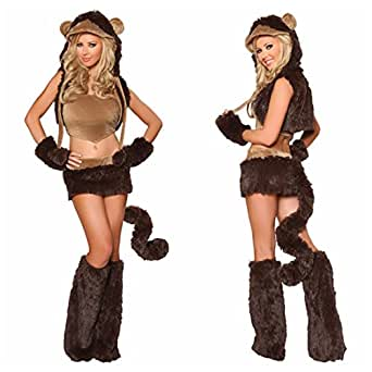 Halloween Lovers Sexy Animal Fur Monkey Cat Cosplay Costume Party Uniform Dress