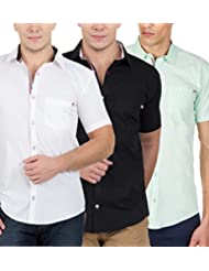 GHPC Men's 100% Cotton Half Sleeve Casual Shirt