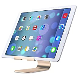 OMOTON iPad Pro Stand, Desktop Multi-Angle Aluminum Charging Dock Stand, with Sticky Suction Mount Base, for All Tablets and Smart Phones, Gold