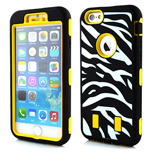 Meaci® Cellphone Case For Iphone 6 Plus 5.5 Inch Case 3 In 1 Combo Hybrid High Impact Body Armorbox Hard Pc&Silicone Protective Bumper Case With Zebra Luxury Print (Yellow Zebra)