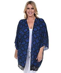 Allora Women's Plus Size Lace Trim Cardigan (1X, ROYAL BLUE)