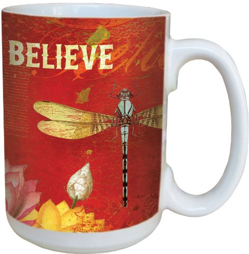 Tree-Free Greetings 79124 Believe Collectible Art Ceramic Mug With Full Sized Handle, 15-Ounce, Multicolored