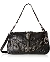 MG Collection Parkin Skull Studded Fringe Beads Lambskin Leather Purse