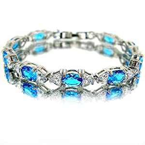 Elegant Oval Cut White Gold Plated Silver Simulated Aquamarine Diamond Accent Bracelet BC260