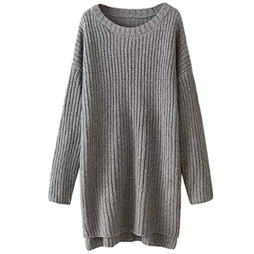 Fheaven Womens Batwing Sleeve Loose Knit Long Pullover Sweater (Gray)
