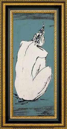 """Nude Sketch on Blue I by Patricia Pinto - 12"""" x 30"""" Framed Premium Canvas Print"""