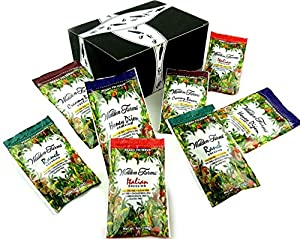Walden Farms Calorie Free Dressings 4-Flavor Variety: Two 1 oz Packets Each of Honey Dijon, Ranch, Italian, and Creamy Bacon in a Gift Box