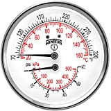 "Winters TTD Series Steel Dual Scale Tridicator Thermometer with 2"" Stem, 0-75psi/kpa, 3"" Dial Display, ±3-2-3% Accuracy, 1/2"" NPT Back Mount, 70-320 Deg F/C"