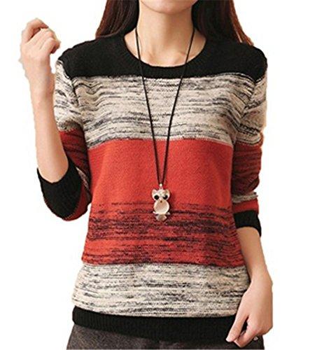 Donna Maglia Maglione Manica lunga in maglia Pullover Autunno inverno cardigan maglia di lana (arancio)