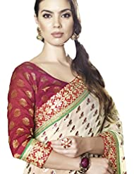 Faux Georgette Saree In Red Colour For Party Wear - B00UTQHKNA