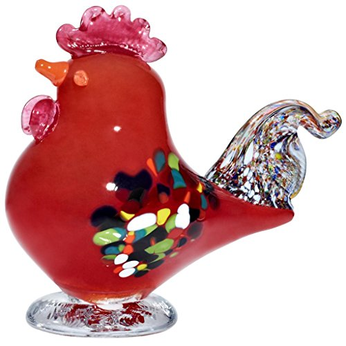 glass-statue-rooster-figurine-collection-gockel-red-17-cm-unique-handmade-glass-modern-style-beautif