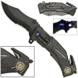 LED Flashlight Tactical Rescue Pocket Knife Special Force (Color: Black, Tamaño: Pocket Size)