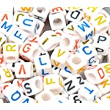 "Rockin Beads Brand, 450 Mixed Color on White Acrylic Alphabet /Letter ""A-z"" Cube Spacer Beads 6mm Approx 1/4 Inch Sold Per Pack of 450"