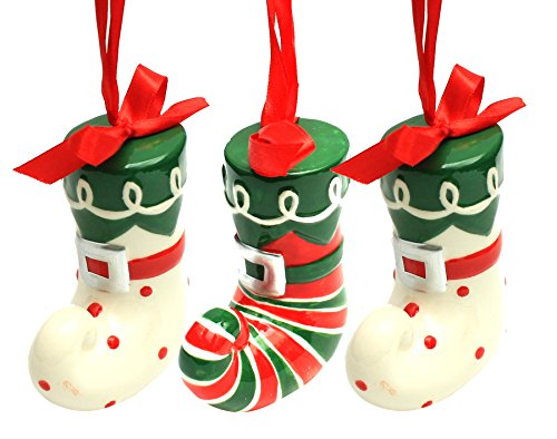 Holiday Lane Ceramic Stripe & Polka Dot Elf Boot 3″ Christmas Ornaments; Set of 3