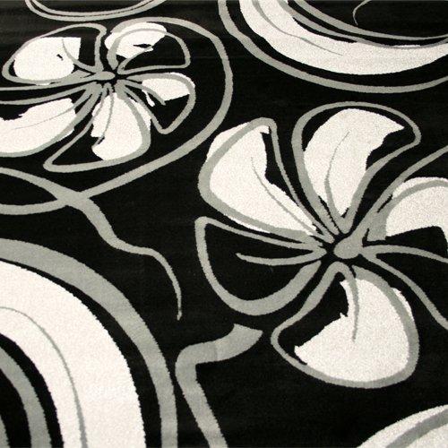 Tappeto moderno 200 x 300 cm colore nero e grigio for Tappeto nero moderno
