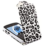 ITALKonline WHITE BLACK LEOPARD FlipMatic Easy Clip On Vertical Flip Pouch Case Cover with Holder for BlackBerry Q10