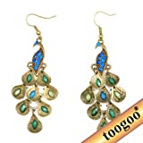 TOOGOO(R) Lady Vintage Retro Blue Rhinestone Crystal Dangle Prancing Peacock Hook Earrings