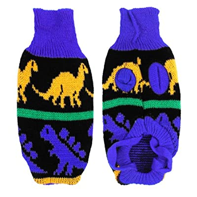 Blue Yellow Turtleneck Dinosaur Print Pet Dog Clothes Sweater Coat XXS