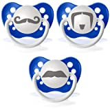 Personalized Pacifiers Mustache 3 Pack, Dark Blue