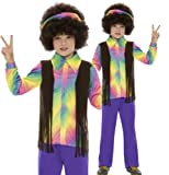 Boys 4-12 yrs Hippy Hippie 60s Disco Peace Festival Fancy Dress Costume 4-12 yrs SMALL