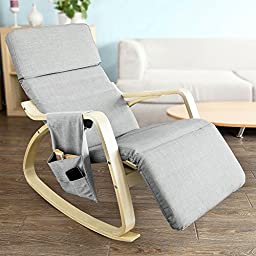 SoBuy New Relax Rocking Chair with Adjustable Footrest, Side Bag and New Seat Support, FST19-HG,grey