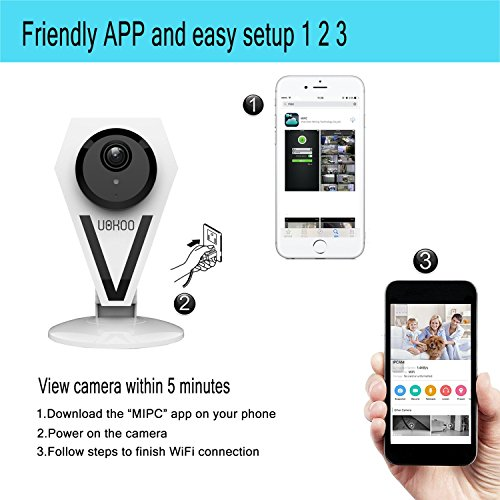 IP Security Camera, 720P HD WiFi Camera Day/Night Wireless Video Monitoring  with Night Vision/Two-way Audio/Motion Detection Alert White 812