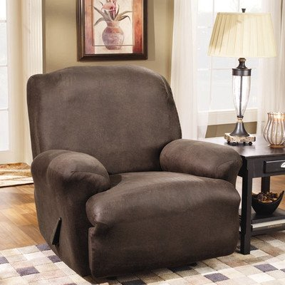 Sure Fit Stretch Leather 1-Piece  - Recliner Slipcover  - Brown (SF37162) (Recliner Cycle compare prices)