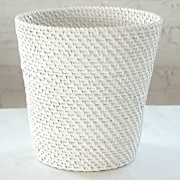 White Round Lasting Durability Good Looking Peaceful Serene Neat Simple Structural Design Fits Any Room of Your House Wastebasket Minimal and Practical Build Rattan Storage Bathroom Waste Trash Basket