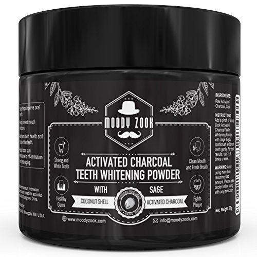 Natural Activated Charcoal Teeth Whitening Powder with Organic Sage by Moody Zook--Effective Against Gum Disease, Bad Breath, Cavity, Stain, Plaque, Gingivitis--Super Fine Texture for Sensitive Teeth (Natural Whitening compare prices)