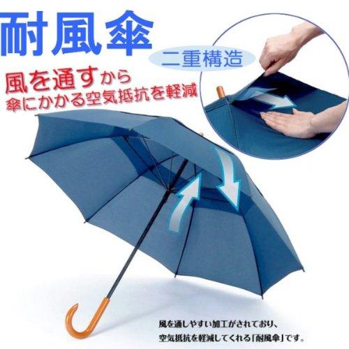 風に強い!グラスファイバー耐風傘♪ ネイビー