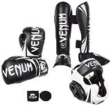 Venum Challenger 2.0 Standup Bundle, Black Gloves, Black Shinguards, Black/White Headgear, Black Handwraps, 16-Ounces Gloves, X-Large Shinguards, Headgear One Size, Handwraps 4M