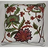 Crewel Pillow Dahiana Forest Colors On Offwhite Cotton D (16X16)