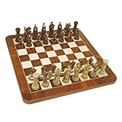 We Games Medieval Chess Set Handpainted Pieces & Walnut Root Board 17 In.