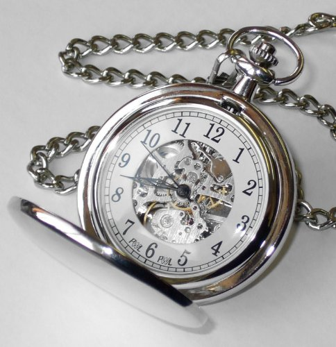 Personalised Engraved Silver Plated Skeleton Pocket Watch
