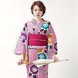 「撫松庵」ブランド浴衣単品幾何縞にバラ