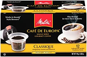 Melitta Single Cup Coffee for K-Cup Brewers, Cafe de Europa Classique, Medium Roast, 12 Count