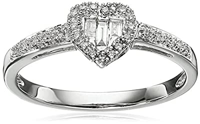 10k White Gold Diamond Baguette Heart Ring (1/10cttw, I-J Color, I2-I3 Clarity), Size 7