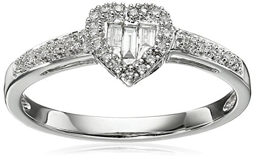10k-White-Gold-Diamond-Baguette-Heart-Ring-110cttw-I-J-Color-I2-I3-Clarity-Size-7