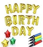 (HAPPY BIRTHDAY) 誕生日 バルーン アルファベット 星 風船 空気入れ クロスセット バースデー 飾り パーティグッズ MINO Creates ランキングお取り寄せ