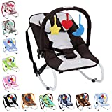 Infantastic - Hamaca para bebés con cinturón de seguridad y 3 puntos de fijación - modelo negro