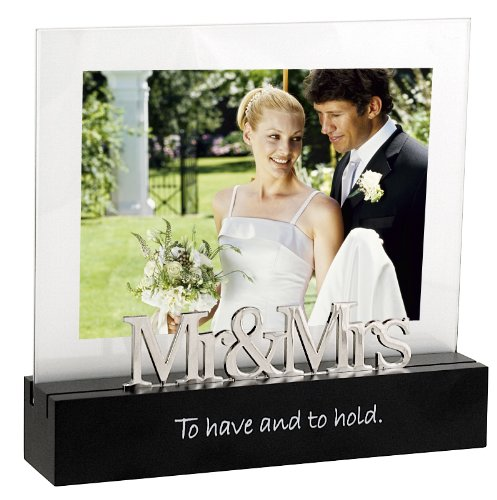 Malden Celebrated Moments Black Wood Picture Frame, Mr. and Mrs., 5 by 7-Inch –