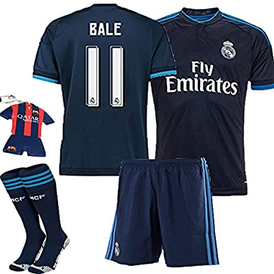 Barcelona Kids Jersey 2015/2016 #11 Bale Away Blue Soccer Kit Real Madrid football Jersey & Shorts & Socks & key chain kids boys youth