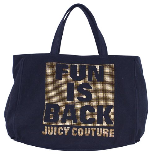 Juicy Couture Fun is Back Black Canvas Zip Tote