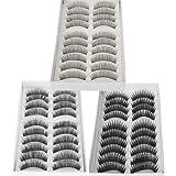30 Pairs Black Long & Thick Reusable False Eyelashes Fake Eye Lash for Makeup Cosmetic - 3 Kinds of Style by NYKKOLA
